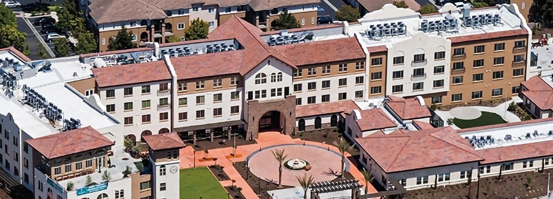 Ariel view of St Paul's Plaza Senior Housing development.