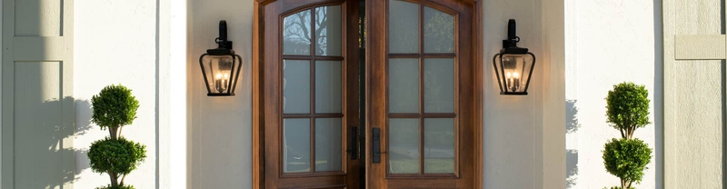 two panel continuous arch entry door with 3/4 glass