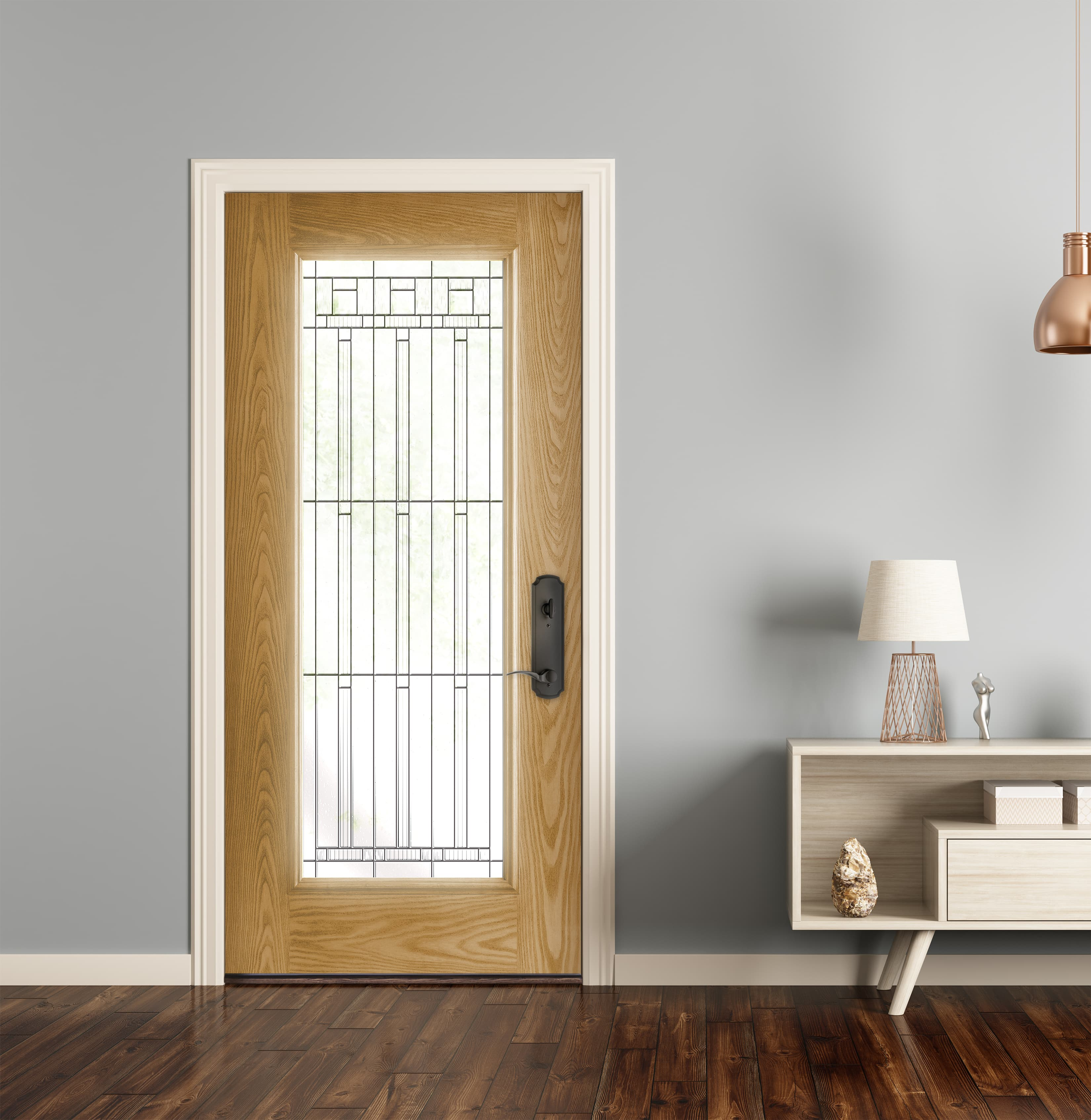 Wheat stain fiberglass door with contemporary glass and black hardware