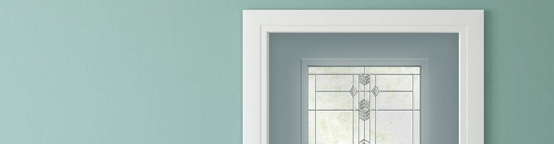 robin egg blue wall with frost blue entry door and white interior trim