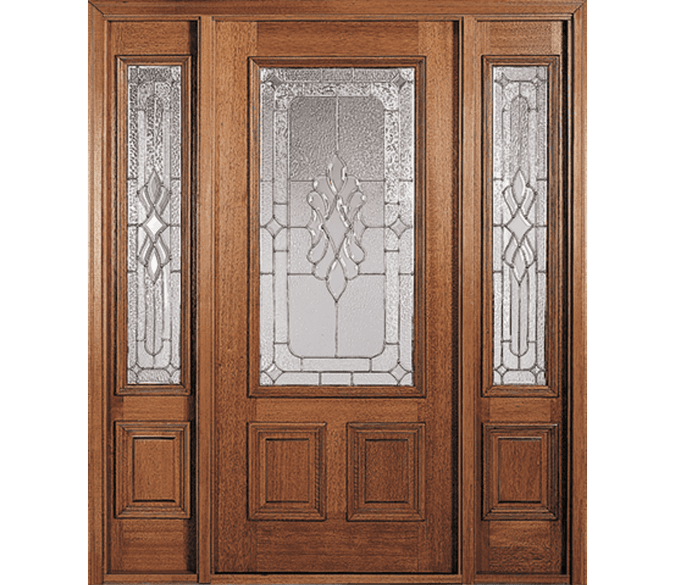 3 panel wood entry door with 3/4 light sidelights on each side