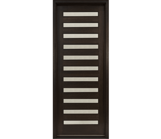11 light contemporary entry door in black stain