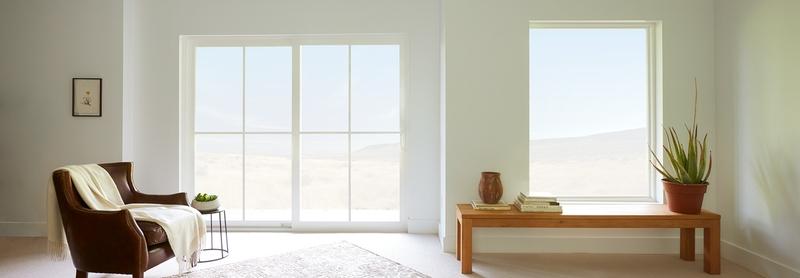 beige living room with a 250 series sliding door