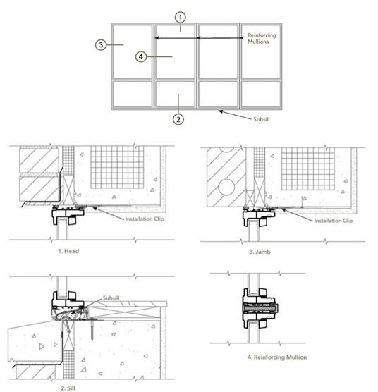 typical elevation for fiberglass window walls