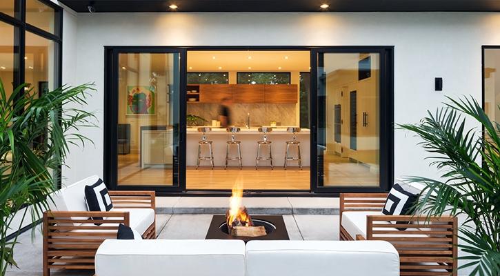contemporary hinged patio door exterior view back patio