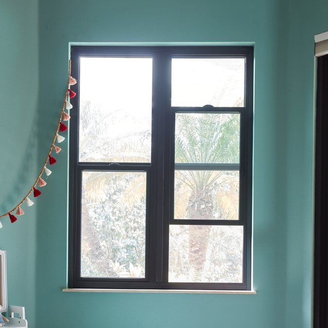 teal wall with two hurricaneshield singlehung windows
