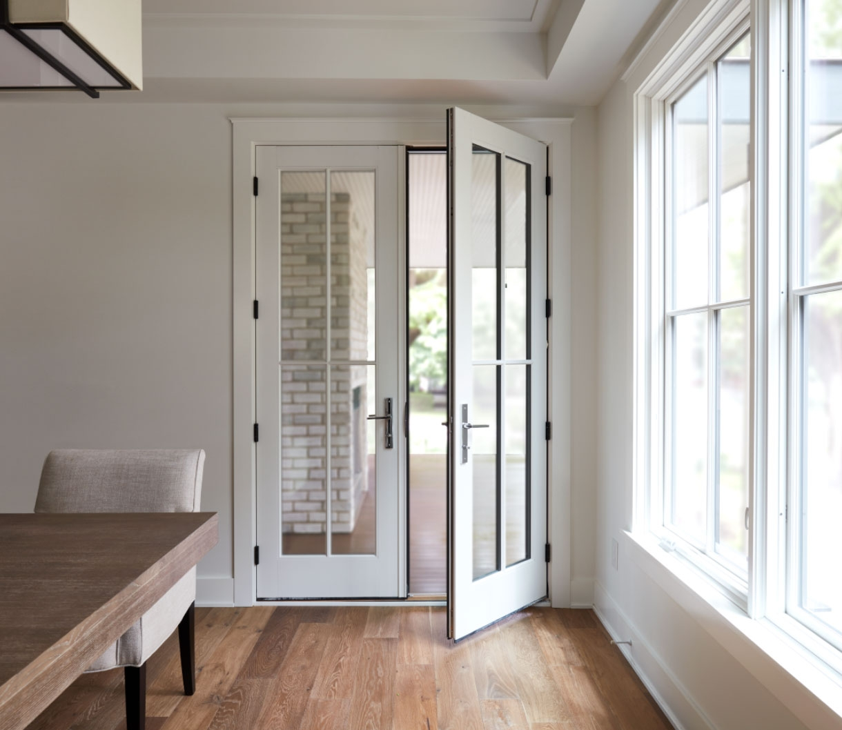 two-panel reserve traditional hinged door in white