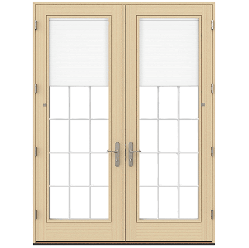 natural finish hinged door from lifestyle series with blinds and grilles