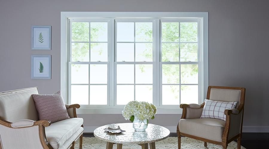 gray home with new vinyl windows