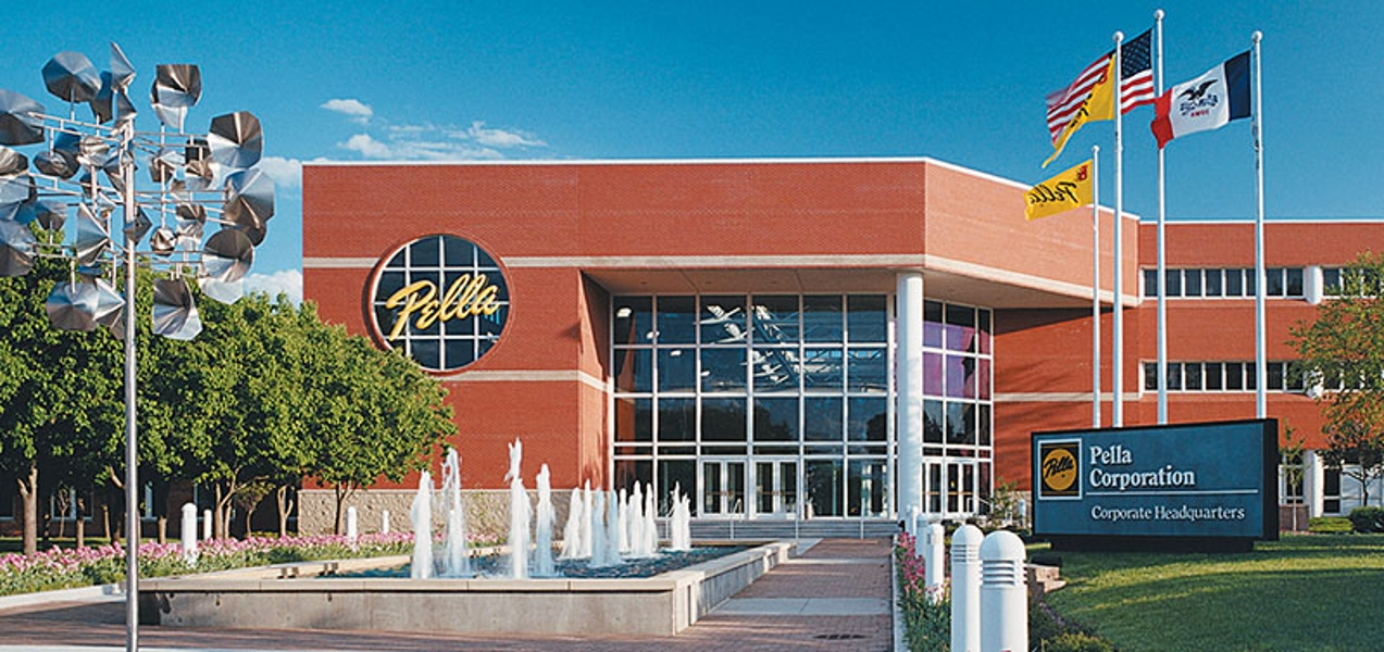exterior view of pella corporate headquarters