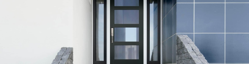 black contemporary entry door with full glass sidelights
