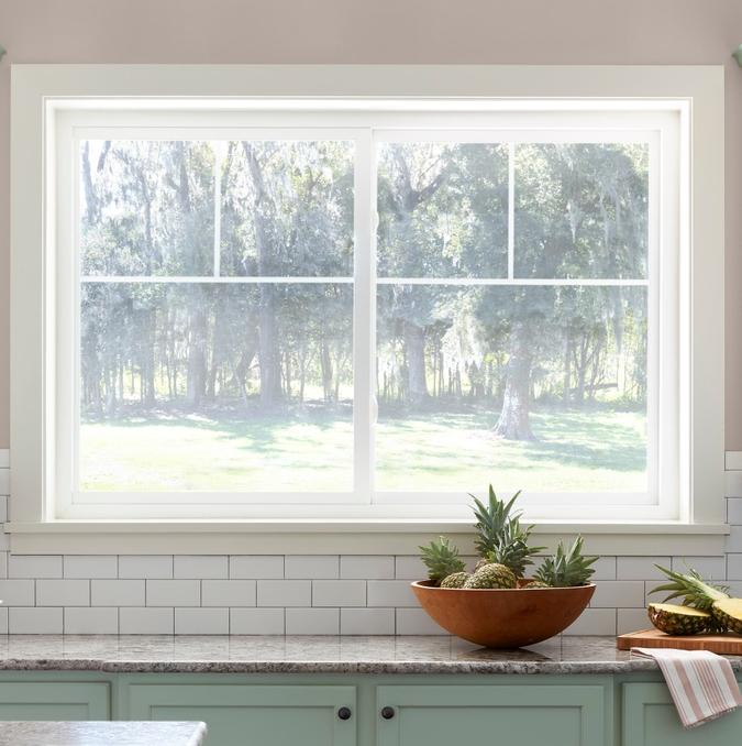 defender series sliding window in a kitchen