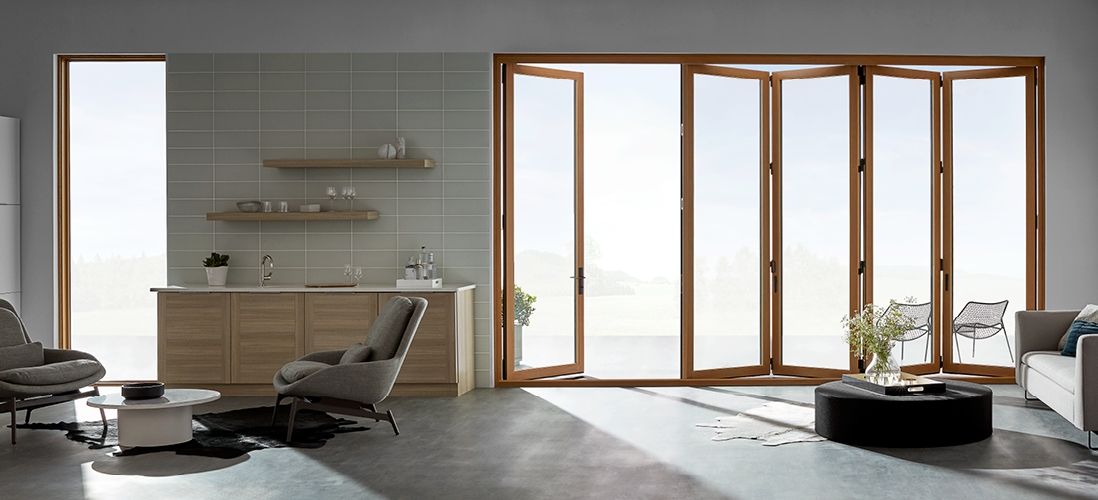 contemporary bifold patio door 1 panel on left 4 panels on right