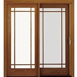 traditional wood sliding patio door with screen over the panel
