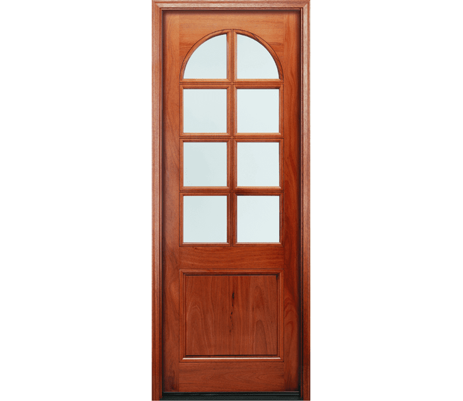 2 panel springline wood entry door with glass