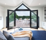 Black Architect Series contemporary hinged patio doors with triangle transom and trapezoid sidelights