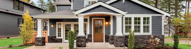 exterior of home with glass entry door
