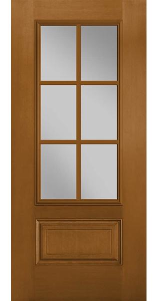 fiberglass entry door with 6-lite glass