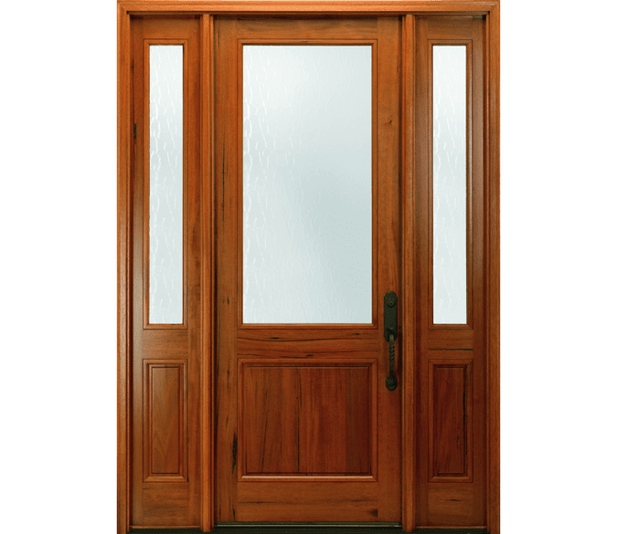 2 panel 3/4 light wood entry door