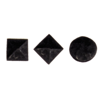 a square, diamond and circle clavos