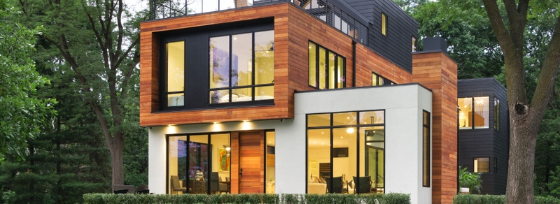 exterior view of a contemporary home with architect series windows and patio doors
