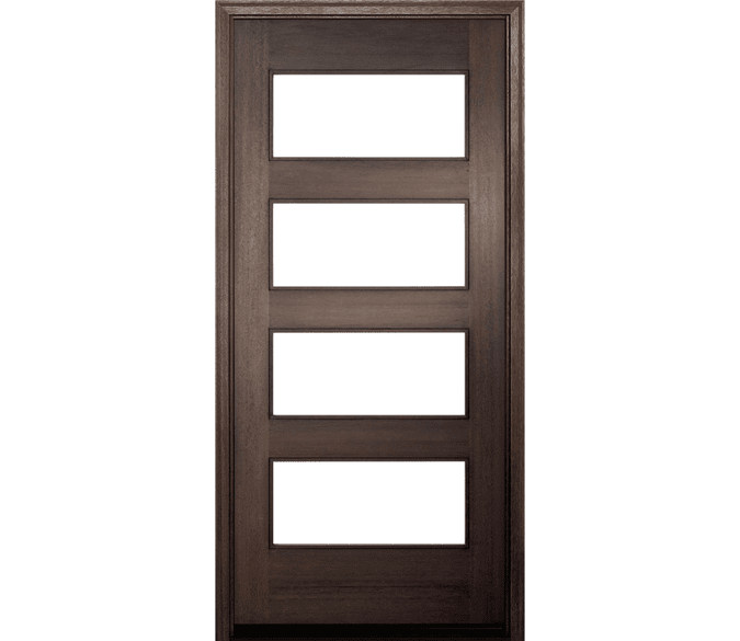 4 light contemporary wood entry door