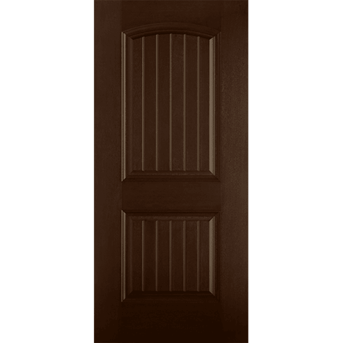 two panel arch plank entry door