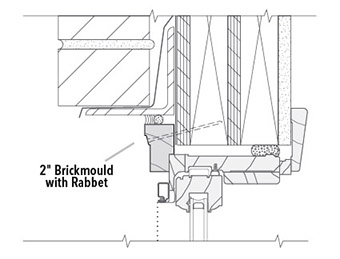 wood brickmould with rabbet