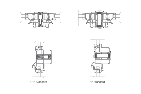"1/2"" and 1"" standard combination drawings"