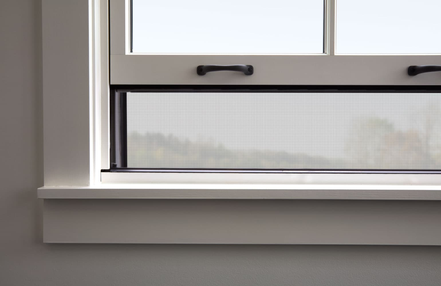 close shot of a double-hung window with integrated rolscreen