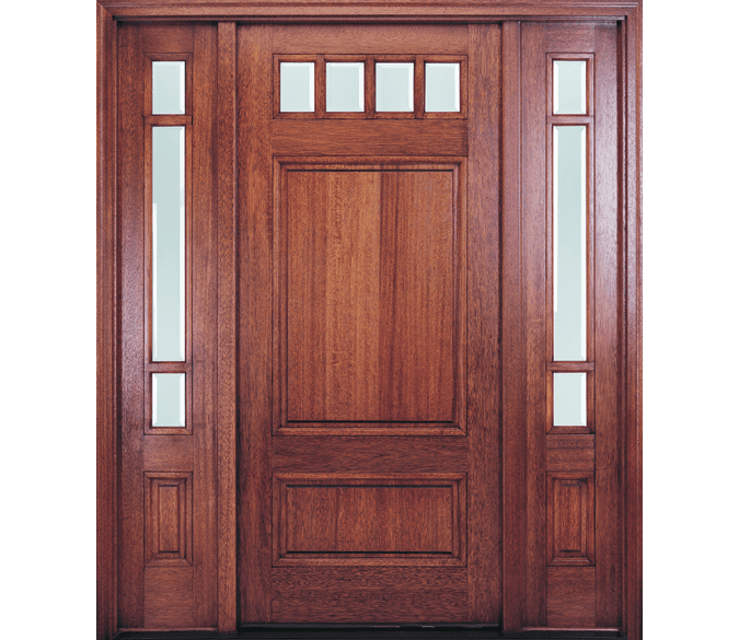4 light top row wood entry door with 3/4 light sidelights