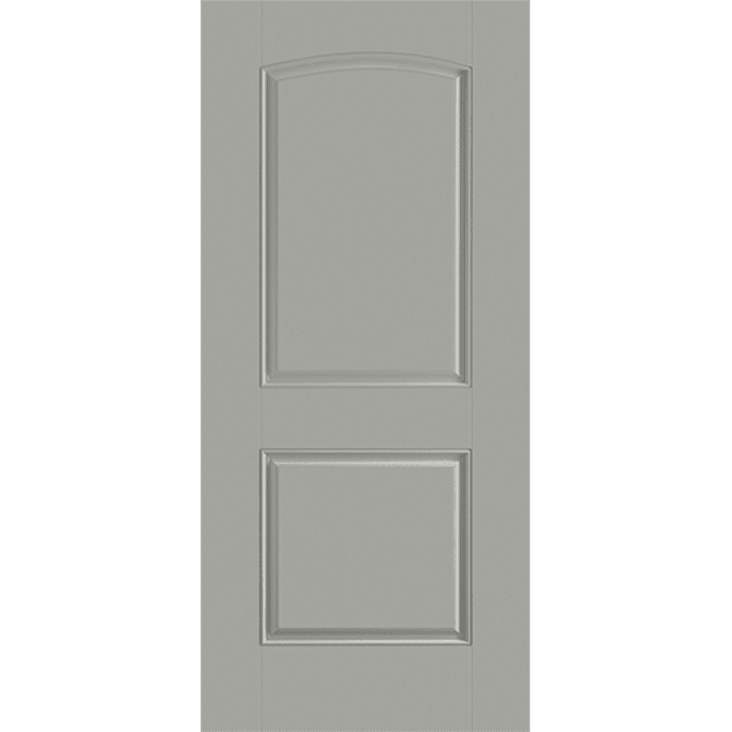 solid two panel arch entry door