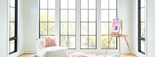 black fixed windows painting room