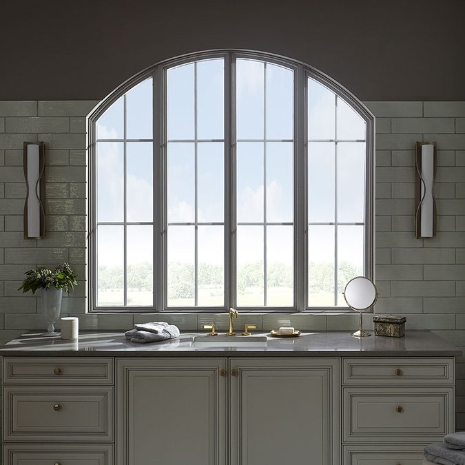 large kitchen curve top window