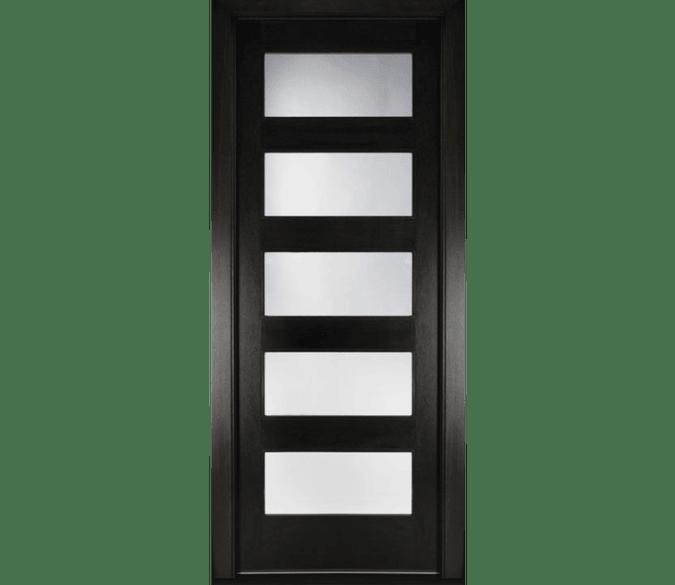 five light contemporary black wood entry door