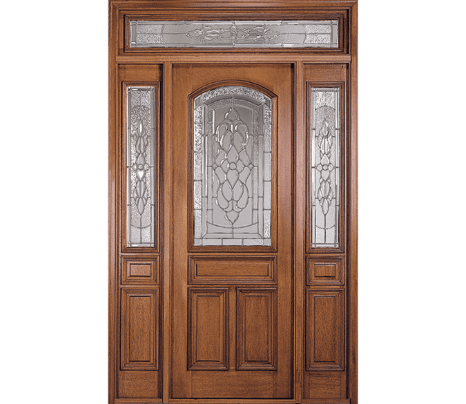 4 panel arch wood entry door with 1/2 light sidelights on each side and a decorative glass transom overhead