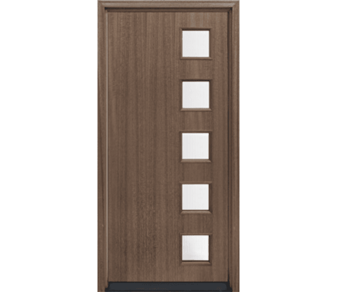 5 square offset light wood entry door