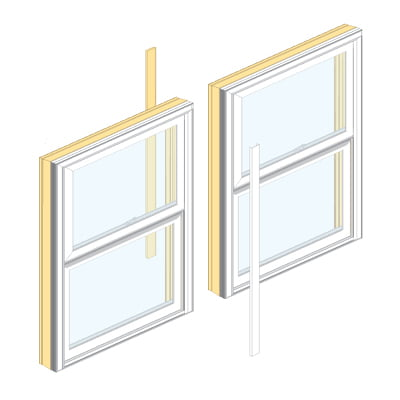 two wood windows with mullion demonstrated in between