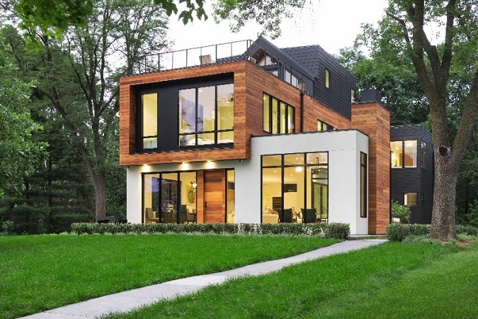 Exterior of contemporary home with black windows