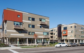 Street view of The Rose multifamily housing development.