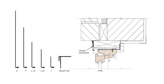 technical drawing of a typical jamb detail with frame expander
