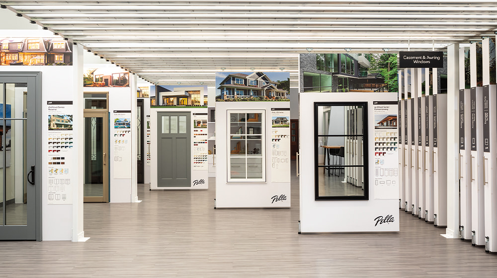 pella showroom with window cartridges that pull out