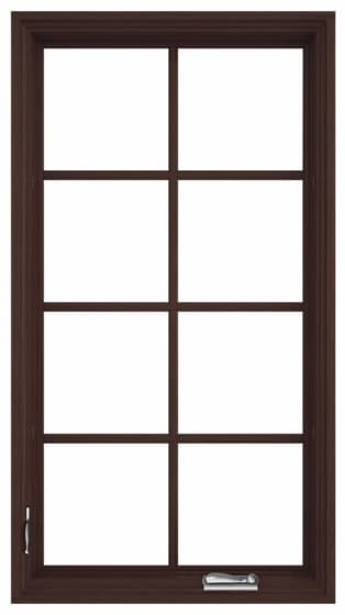 pella reserve casement window with dark finish and grilles