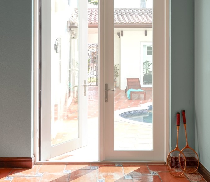 interior shot of hinged patio door with impact resistant glass