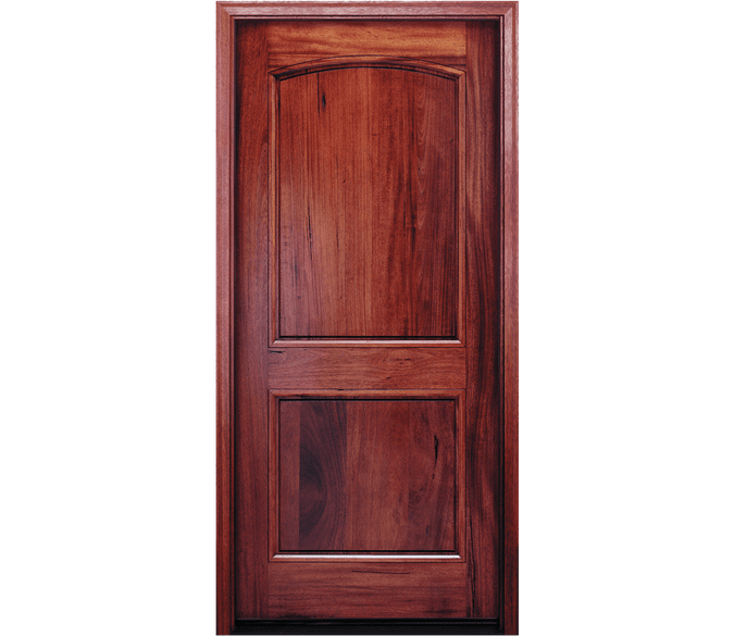 2 panel arch wood entry door
