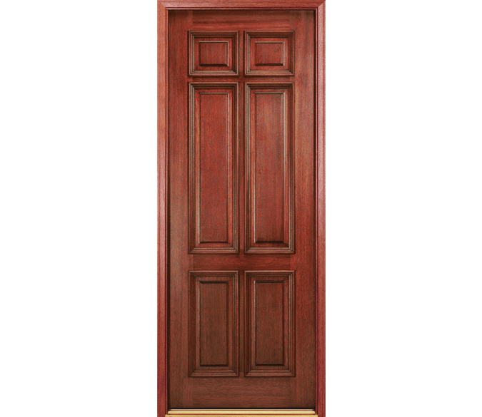 6 panel traditional wood entry door