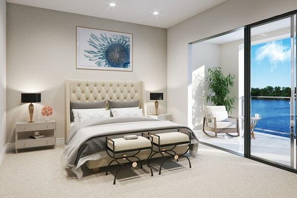 Modern bedroom bathed in light from black sliding patio door