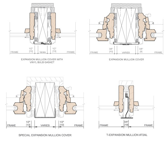technical drawing of typical expansion mullion details