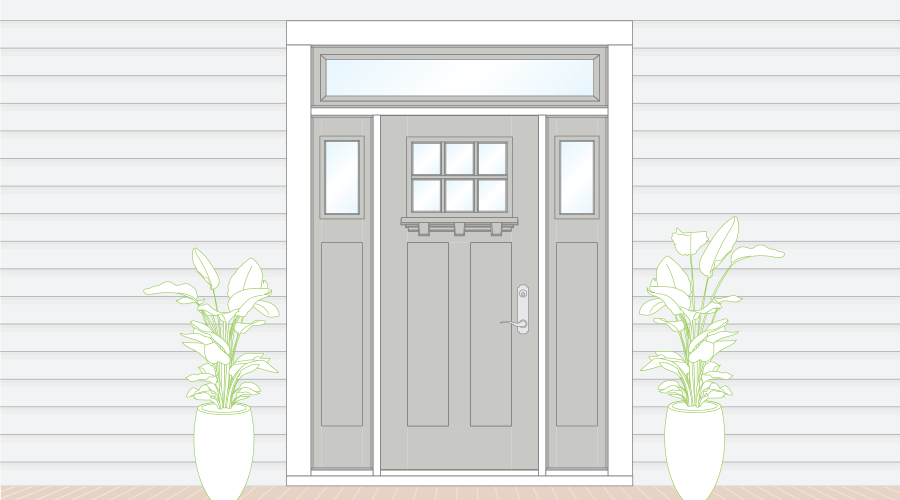 Sketch of gray entry door with transom and sidelights accented by potted plants