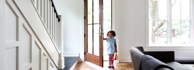 entry door frame options girl walking through door
